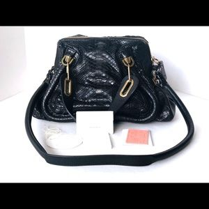 CHLOE PYTHON SNAKESKIN SHOULDER BAG LEATHER